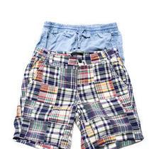 J Crew Bella Dahl Womens Mid-Rise Shorts Plaid Blue Cotton Size 00 Xs Lot 2 Photo