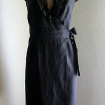 J. Crew Black Linen Ruffle True Wrap Dress Matching Slip Sz 0 Photo