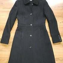 J Crew Black Tailored Wool Blend Trench Coat Size 2.   5 Button Down Womens Photo