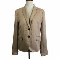 J Crew Blazer Size 6 Beige Khaki 100% Linen Jacket Long Sleeves Fitted Lined Photo