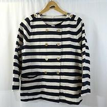 J Crew Blue White Striped Double Breasted Jacket Size M Nautical Gold Button New Photo