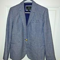 J Crew Blue/white Wool Blend Campbell Jacket/blazer Gold Buttons Size 12 Ec  Photo