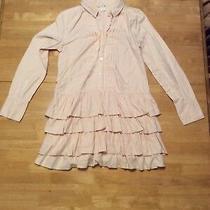 J Crew Blush Nude Cotton Ruffle Dress Long Sleeve Collared Size 6 Photo