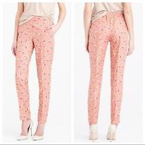 J. Crew Blush Pink Falling Pansies Floral Print Silky Pull-on Slim Pants 00 Xxs Photo