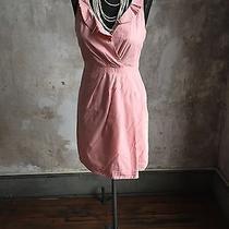 J Crew Blush Pink Portrait Collar Party/business Dress Sz 6 Cotton Tulip Ruffle Photo