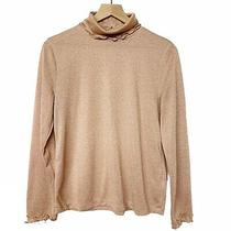 J Crew Blush Pink Tose Gold Metallic Frill Trim Turtleneck Sweater Lightweight L Photo