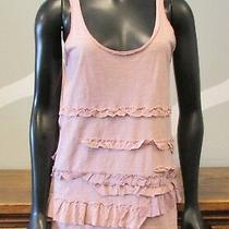 J Crew Blush Ruffle Tiered Raw Edge 100% Cotton Tank Top - Small Photo