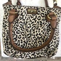 J.crew Brompton Mini-Hobo Safari Leopard Print Purse Handbag Leather & Linen Photo