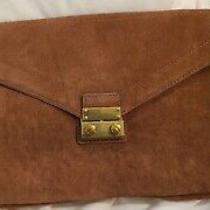 J. Crew Brown Suede Leather Chain Strap Convertible Envelope Clutch Shoulder Bag Photo