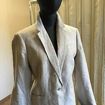 J Crew Campbell Blazer 100% Linen Tan Size 10 Lined 1 Button Front Classic Photo