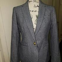 J. Crew Campbell Blazer in Houndstooth Womens Size 6 Blue & White Style F4304 Photo