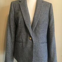 J.crew Campbell Hounds Tooth Wool Blend Blue White Blazer Size 12 Photo