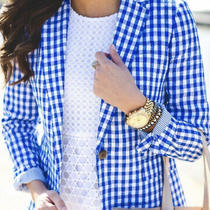 J Crew Campbell Linen Blazer in Blue & White Gingham Print Size 8 178.00 Photo