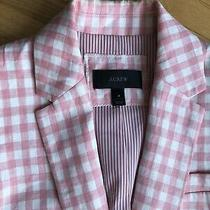 J Crew Campbell Pink White Gingham Plaid Check Linen Blazer Jacket 4 Photo