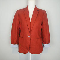 J Crew Campbell Suit Jacket Burnt Orange Cinnamon 100% Linen Blazer Size 8 Photo