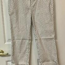 J Crew Campbell White With Navy Blue Dots Ankle Crop Pants Size 4 Never Worn Photo