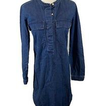 J Crew Chambray Dress Size Xxs Denim Blue Long Sleeve Photo