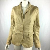 J Crew Classic Twill Chino Button-Down Jacket Long Sleeve Pocket Beige Women 12 Photo