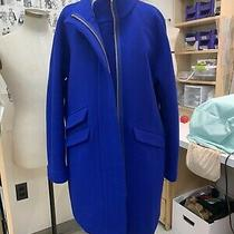 J Crew Cocoon Coat Italian Stadium Cloth Cobalt Size 12 Photo