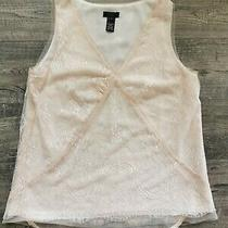 J Crew Collection Blush Ivory Pink Vneck Sleeveless Lace Lined Blouse Top Size 4 Photo