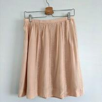 J Crew Collection Blush Pale Pink Lace Striped Silk Skirt Petite Boho Embroidery Photo