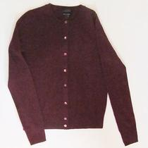 J Crew Collection Cashmere Crewneck Cardigan Heather Cabernet Xs Sweater Photo