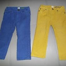 J. Crew Crewcuts Corduroy Cords Adjustable Pants Lot Blue Yellow 2 Slim - Euc Photo