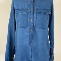 J Crew Dark Wash Blue Denim Pullover Shirt Blouse  Size 00 Photo
