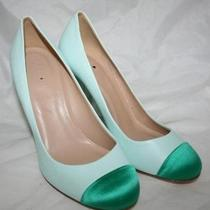 J Crew Etta Satin Cap Toe Pumps 8 Aqua 258 Photo