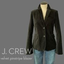 J Crew Factory Velvet Pinstripe Black Blazer Size 4 Nwot Photo