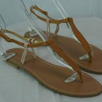 J Crew Fiona Two Color T-Strap Flats Sandals Shoes Size 7 Sienna Blush Photo