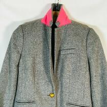J. Crew Gray 100% Wool Campbell Gold Button Pink Collar Blazer Jacket Size 4 Photo
