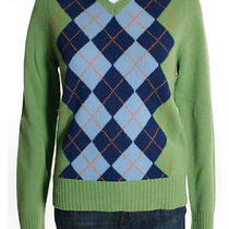 J. Crew Green Blue Orange Lambs Wool v Neck Long Sleeve Argyle Sweater Sz M Photo
