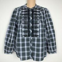 J. Crew H2215 Embellished Button-Up Shirt in Holiday Forest Tartan Plaid Sz Xs  Photo
