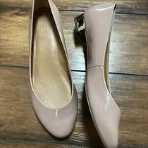 J Crew Harper Gold Heel Blush Pink Patent Leather Ballet Flats Shoes Sz Us 6.5 Photo