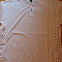 J Crew Lace-Up Tunic Tee Top Cotton Size Medium Palest Blush Nwt Photo