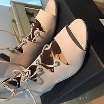 J.crew Laila Lace Up Wedge Sandals Suede Blush With Silver Grommets Sz 9 Photo
