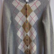 J. Crew Lambs Wool Argyle Cardigan Sz M Gray Sweater Photo