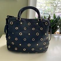 J.crew Leather Hobo Bag 100% Leather Black With Gold Metal Accents Photo