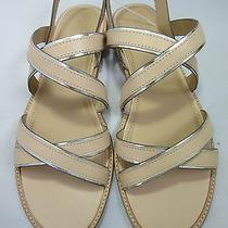 J Crew Mackenzie Metallic Trim Flat Sandals in Soft Blush Size 10.5 C6998 New Photo