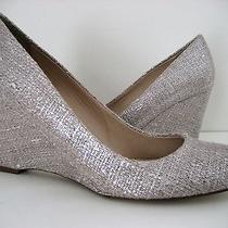 J Crew Martina Shimmer Linen Wedge Shoe Palest Blush Sz 10m Made in Italy Photo