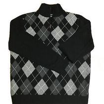 J Crew Men 1/4 Zip Pullover Sweater 100% Lambs Wool Xl Extra Large Black Gray Photo