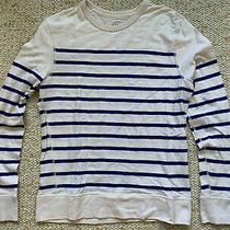 J.crew Men's Nautical Striped Sweater Sweatshirt White Blue Szm J Crew Beige Photo