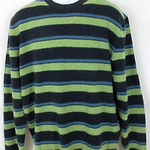 J Crew Mens Blue Green Black Stripe Lambs Wool Sweater Size Large L Lg Photo