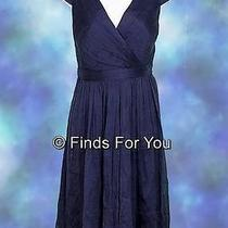 J Crew Mirabelle Dress in Silk Chiffon Sz 4 Newport Navy Style 66737 265 New Photo