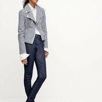 J Crew Motorcycle Jacket in Gingham Size 2 Woment Moto Blazer Coat Photo