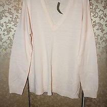 J. Crew Nwt Blush Pink Peach Merino Linen v-Neck Sweater L Photo