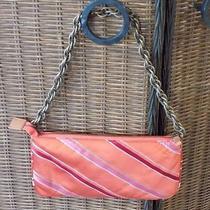J Crew Orange Striped Small Bag Clutch Purse 100% Silk Photo