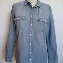 J. Crew Perfect Fit Chambray Shirt S Denim Blue Button Down Convertible Sleeve Photo