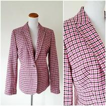 J Crew Pink Houndstooth Plaid Campbell Wool Blazer Jacket Suit Coat Nwt Size 10 Photo